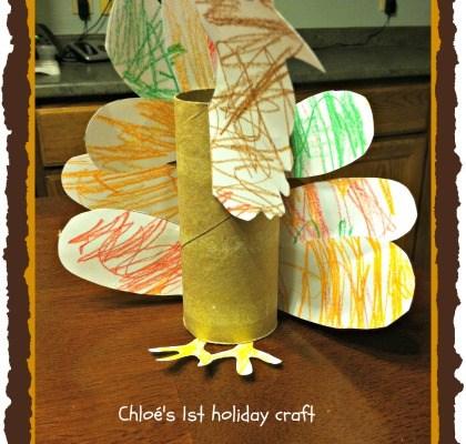 Easy toddler craft: Toilet paper tube turkey