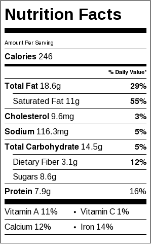 chia seed pudding nutrition label