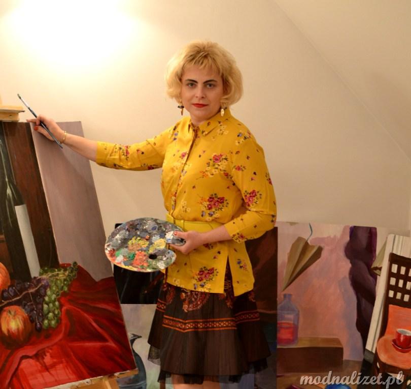 Modna Lizet na brązowo i żółto