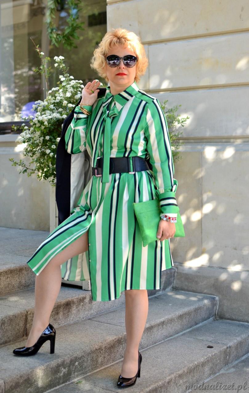 Zielona sukienka w paski Modna Lizet