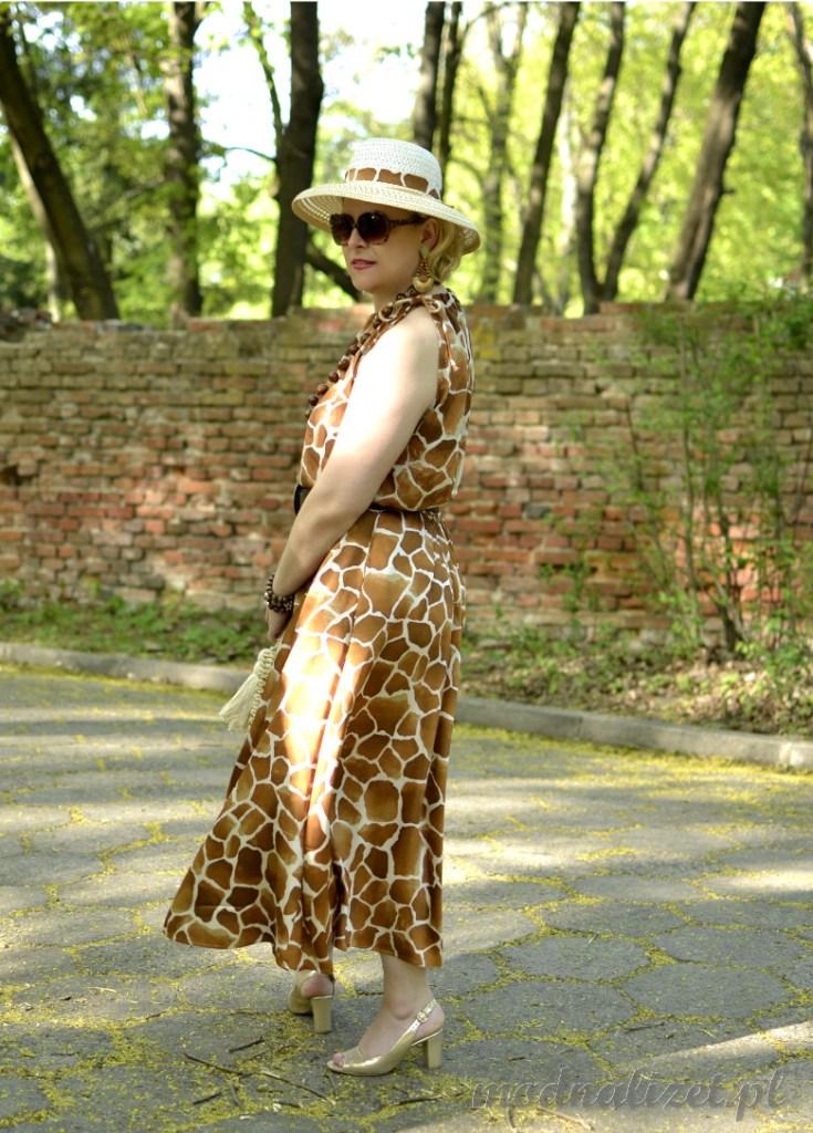 Elegancka sukienka w żyrafie cętki
