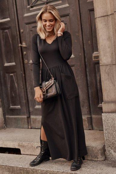 maxi obleka črna