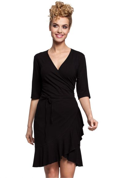 preprosta-obleka-na-preklop-črna