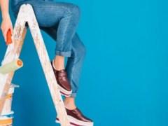 escalera de madera de pintor