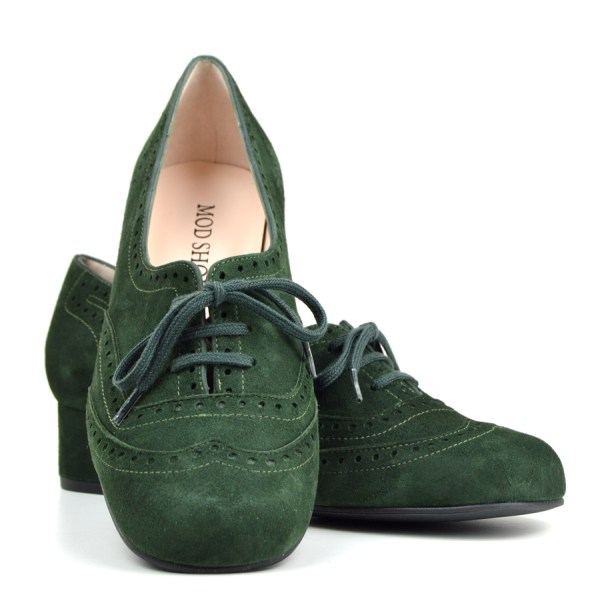 Faye Brogue In Forest Green Suede Vintage Style