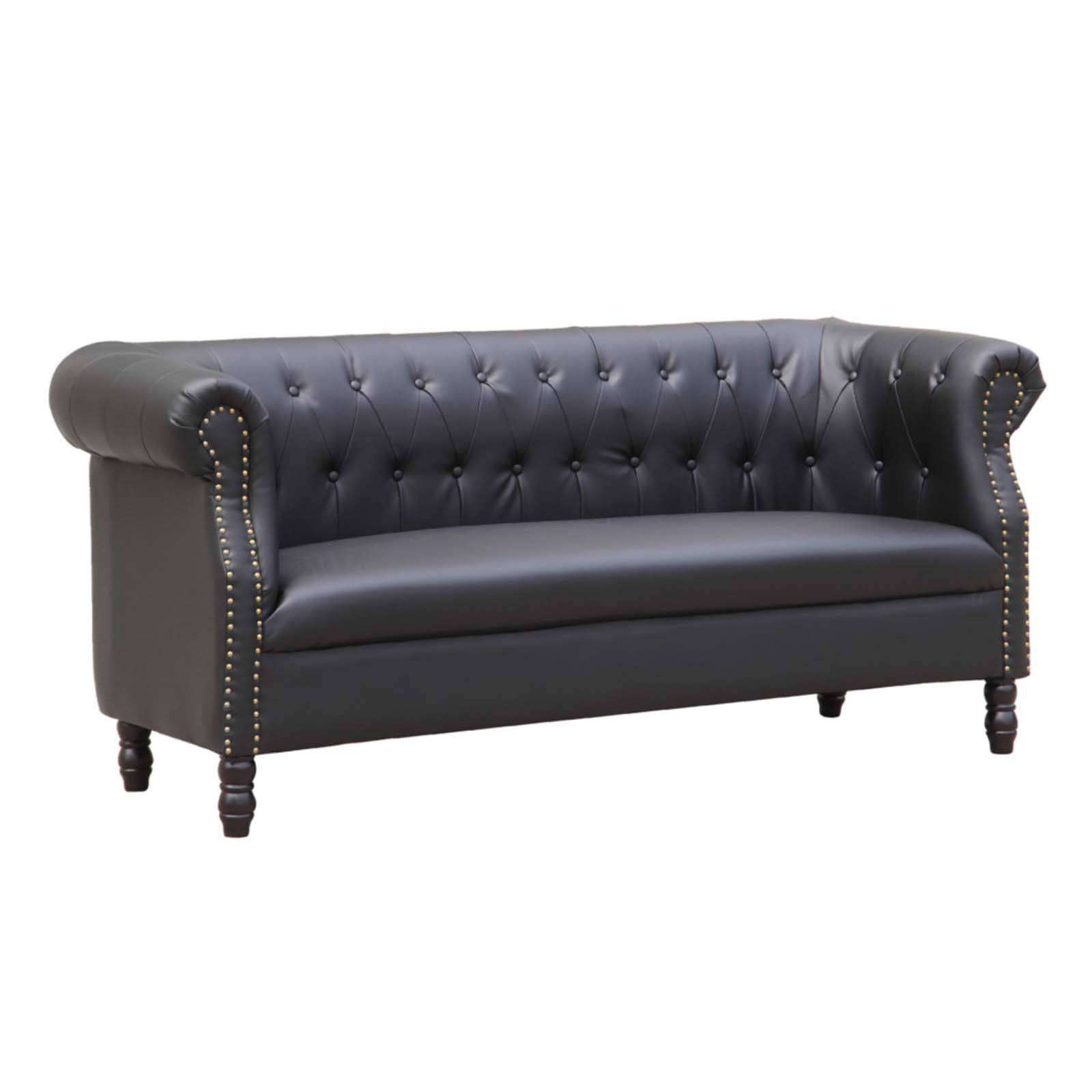 chester tufted leather sofa review contemporary table black bonded