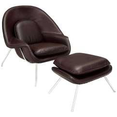 Lounge Chair Leather Barrel Chairs Swivel Casters Eero Saarinen Womb Ottoman