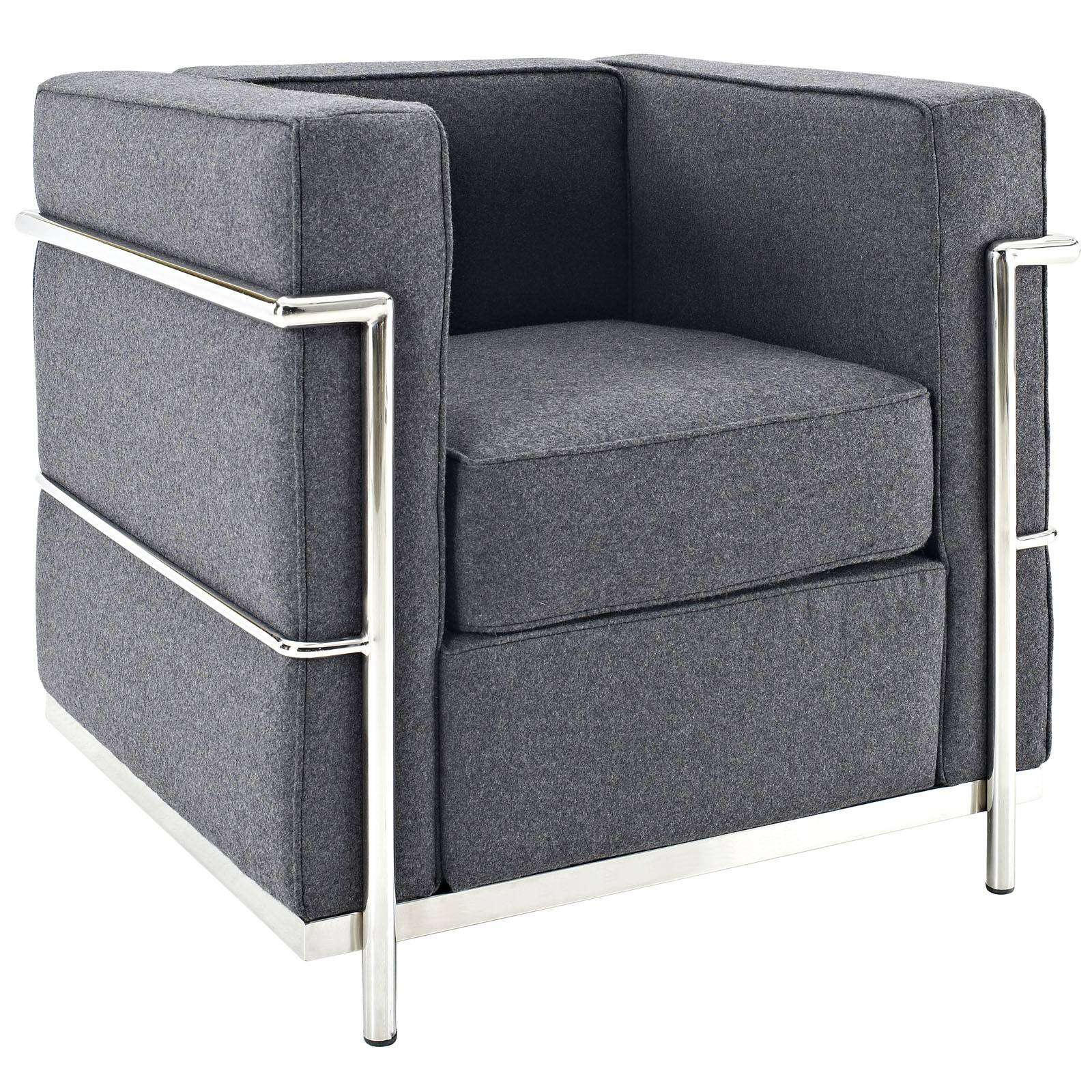 Le Corbusier Style LC2 Arm Chair  Wool