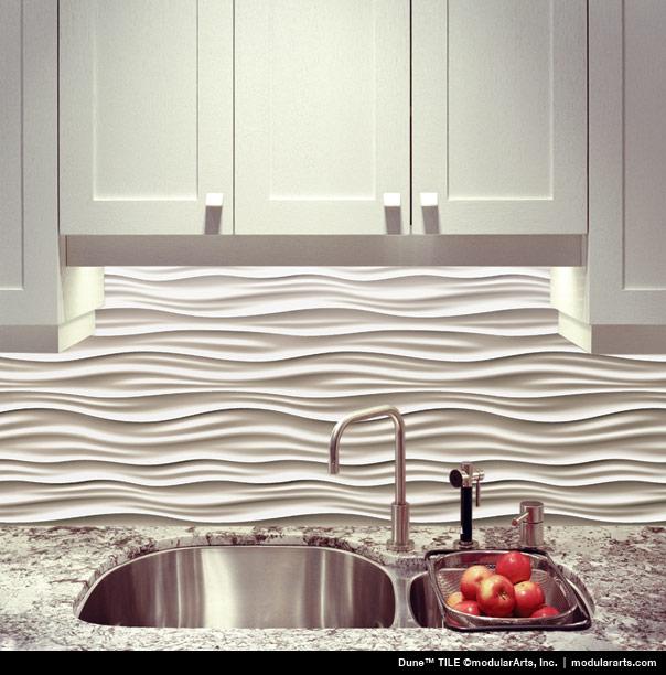White Wave 3d Wallpaper Interlockingrock 174 Tiles For Small Scale Walls Modulararts 174