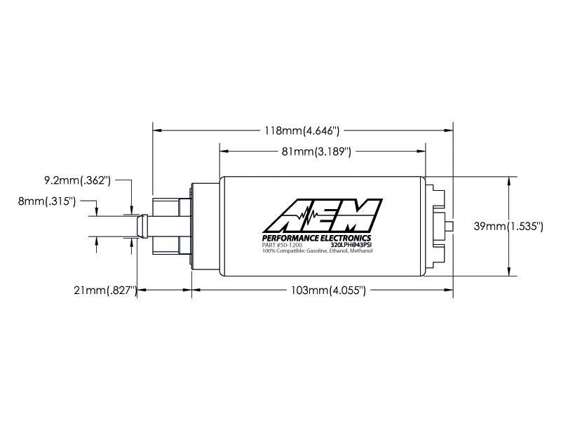 AEM 50-1200 320LPH High Flow E85 Compatible In-Tank Fuel