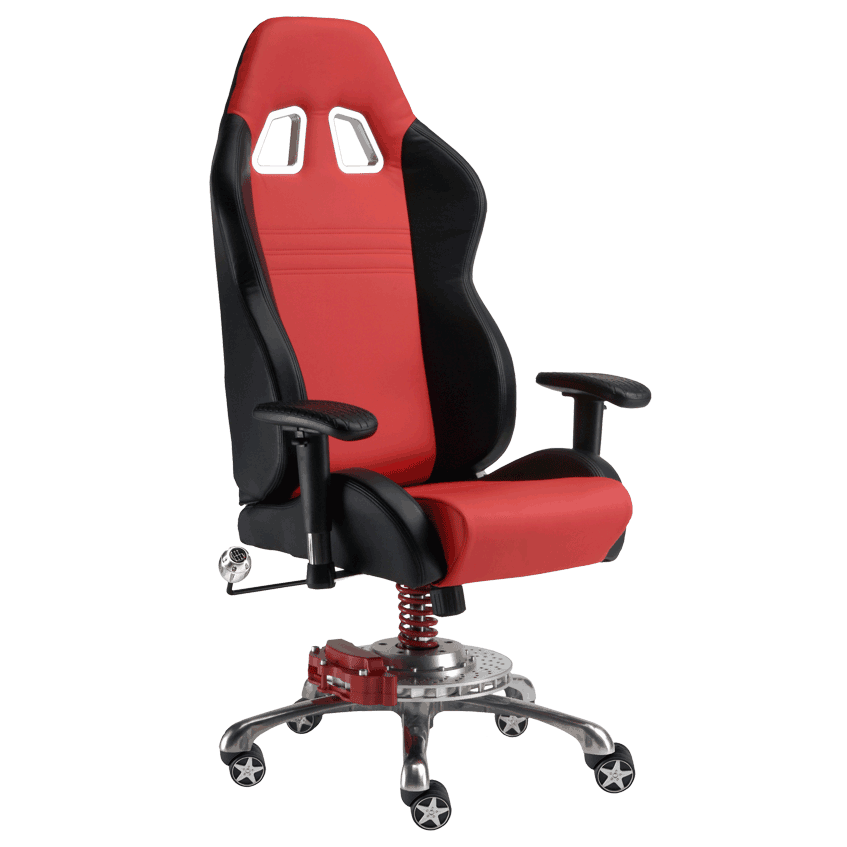 garage chair with wheels french country accent leatherette moduline cabinets black on red grand prix