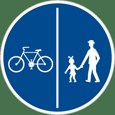 Dopravní značka stezka pro chodce a cyklisty - dělená