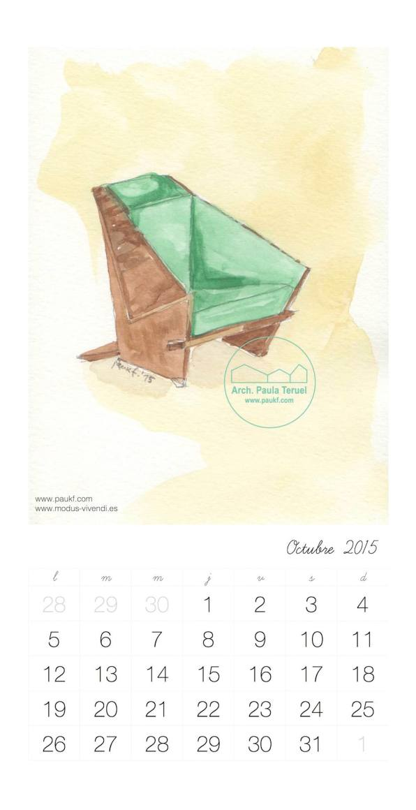 Octubre Calendario acuarela paukf October Calendar watercolor modus vivendi arquitectura Frank Lloyd Wright architecture design chair silla usonian geometría geometry
