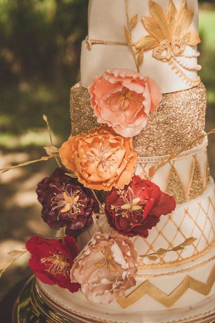 Cake Wedding Cake Design Fall Colors Gold Fondant Red Flowers Multi-Tiered Cake