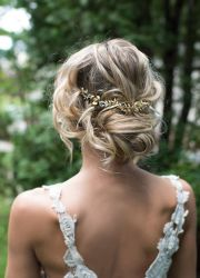 updo gold leaf hairpiece wedding
