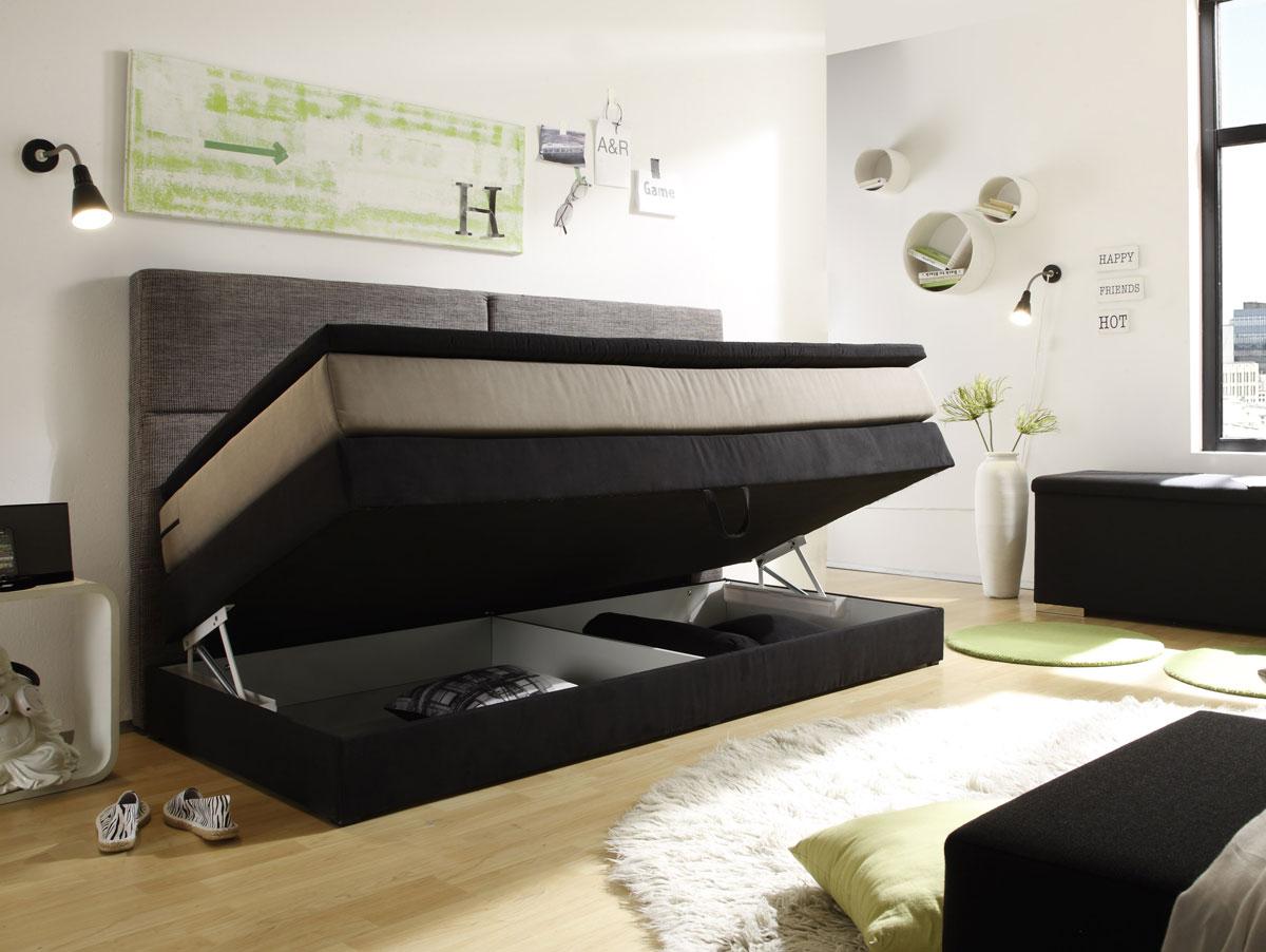 PATRON Boxspringbett mit Bettkasten 90x200 cm schwarz
