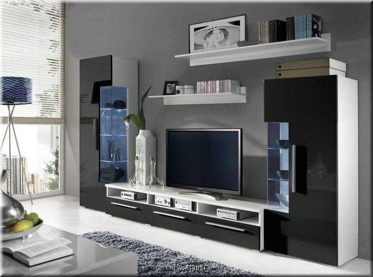 Wohnzimmer Wohnwand Roma Hochglanz schwarz Anbauwand mit LED 5teilig NEU