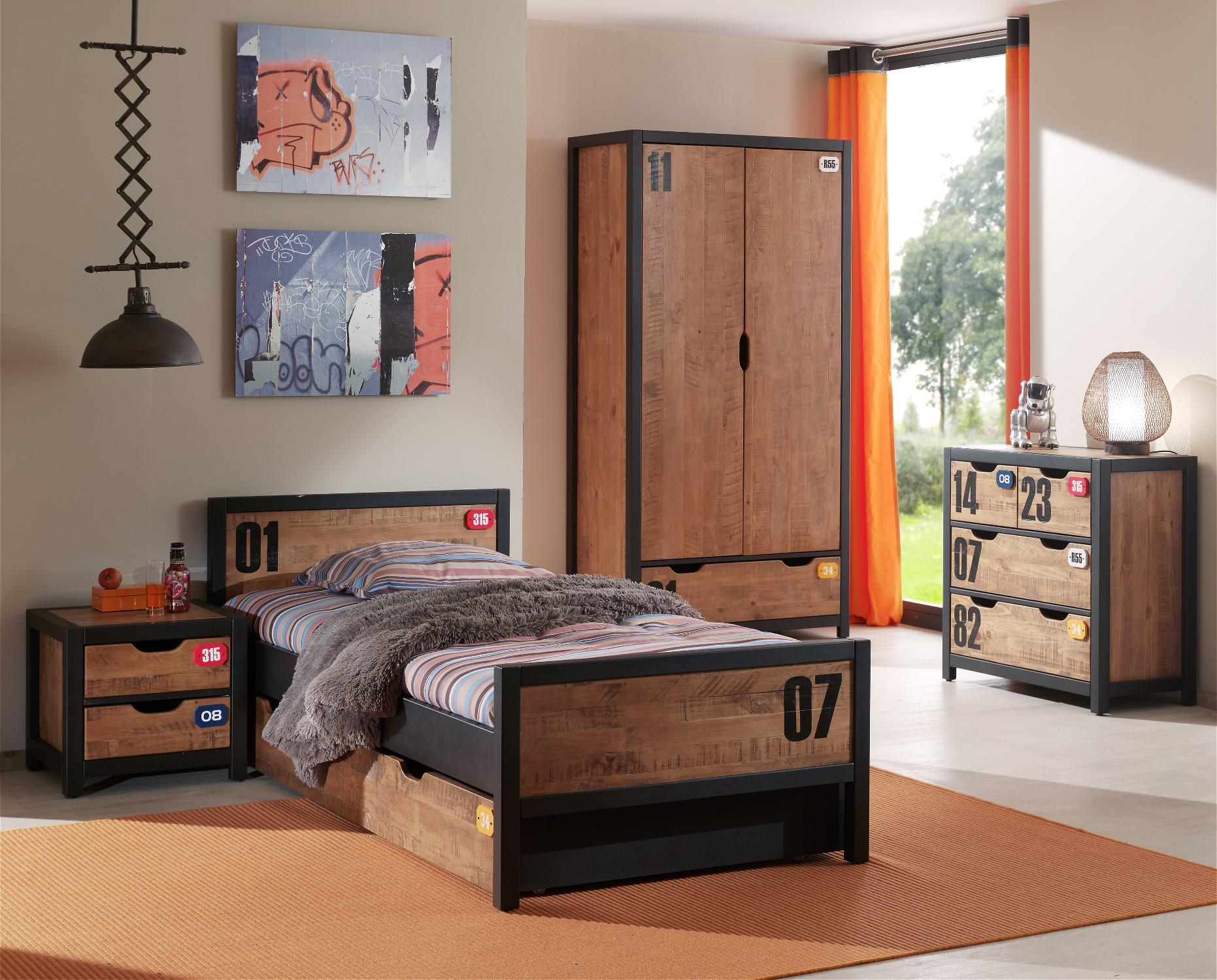 Jugendzimmer Alex Komplett Mit Einzelbett Bettschublade Kleiderschrank Turig Nachtkonsole Und