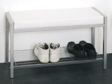 Garderobenbank Metall/weißes Kunstleder