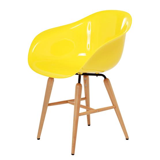 Armlehnenstuhl Forum Wood (4er-Set) - Kunststoff/Buche massiv - Gelb
