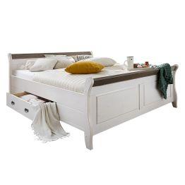 Doppelbett Frida (inkl. Bettkästen) - Kiefer massiv - Weiß / Grau