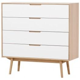 Das in Dänemark entworfene Schubladenmöbel zeigt die Designtugenden des skandinavischen Designs hervorragend auf: Es greift auf basale geometrische Formen zurück