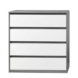 Kommode Soft Smart III - Silbereiche Dekor/Weiß