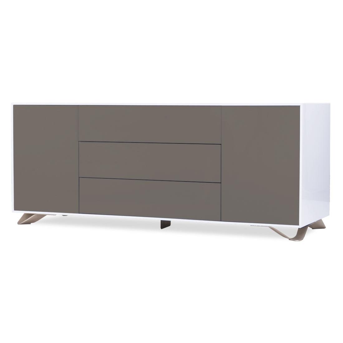 Sideboard Weiß-Grau TV Schrank Lowboard Anrichte - moebel-Liebe.com