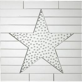 Spiegel: Sternstunde Reduzierter und dennoch stylischer Spiegel. Das eingerückte Stern-Motiv mit Tropfen-Optik wird umgeben von horizontal angeordneten Spiegelstreifen. Eine Bereicherung für jede modern-reduzierte Einrichtung.