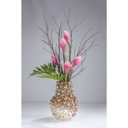 Genial surreal. Eigenwillig und surreal gestaltete Vase die direkt aus einem Science Fiction Movie stammen könnte. Edler Schimmer in warmen Kupfer. Material: Steinzeug glasiert. Weitere Größen. Auch in Silber erhältlich.