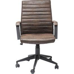 Stuhl: Hingucker im Büro Der trendige Bürodrehstuhl im Vintage-Look wird durch seine gesteppte Leder-Optik aufgewertet. Zum Komfort gehören Armlehnen und eine ergonomisch geformte Rückenlehne. Das Gestell ist stufenlos höhenverstellbar und drehbar.