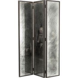 Paravent: Wundervolle Standdeko Nebulös wirkender Paravent mit Rom-Motiv und Schwarz-Weiß-Schattierungen. Die bedruckten Glasfronten werden von Kiefernholz gerahmt