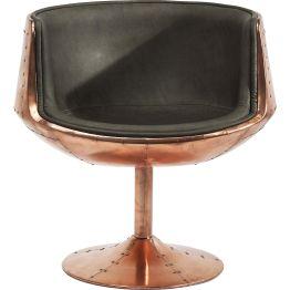 Stuhl: Filmreif Die Nachtclubs der 70er Jahre haben zu diesem kultigen Drehstuhl inspiriert. Die mit Nieten besetzte Metall-Optik und die Formgebung im Retro-Charme sind ideal für Lofts