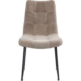 Komfortabler Polsterstuhl in reduzierter Optik. Besonders reizvoll ist die Kombination aus filigranem Gestell und aufwendig gesteppter und weich gepolsterter Rückenlehne und Sitzfläche. Für eine edle Note sorgt der hochwertige Bezug aus hellem