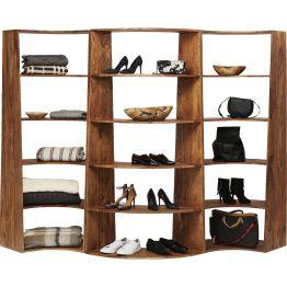 Ideal funktional. Modernes Regal aus massivem Sheesham-Holz. Verbindet Flexibilität