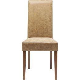 Komfortabler Polsterstuhl mit hoher Lehne und naturfarbenem Bezug. Ideal für die gepflegte Tafel geeignet. Ein zeitloser Klassiker