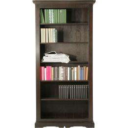 Regal: Elegantes Bücherregal im Kolonialstil Das Cabana Bücherregal wurde aus massivem Pappelholz gefertigt und dann in einem edlen Braunton lackiert. Es besticht mit seinem aparten Design und den künstlichen Gebrauchsspuren