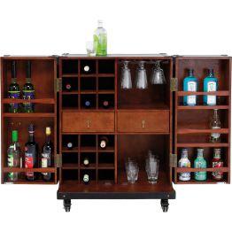 Bar: Elegante Bar im Colonial-Stil Durch viele Fächer und Regale bietet die Bar Colonial Trunk genügend Platz für Barutensilien