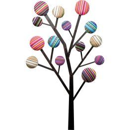 Garderobe: Fröhliche Wandgarderobe in verspieltem Design Die Wandgarderobe Bubble Tree bezaubert mit ihrem herrlich verspielten Look: An einem Gestell aus lackiertem Eisen schmücken die vielfache Enden kunterbunte knopfähnliche Kreise; die der Garderobe mit ihren fröhlichen Farben eine sehr heitere Ausstrahlung verleihen. Die verschiedenen Farben