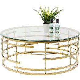 Couchtisch: Modern-futuristischer Glastisch mit markant gestaltetem Sockel aus goldfarbenem Edelstahl. Die runde