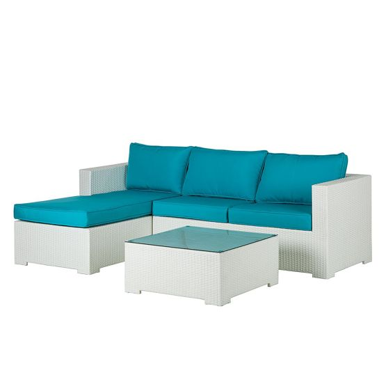 Lounge Sitzgruppe Paradise Lounge (3-teilig) - Polyrattan / Textil - Weiß / Türkis