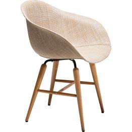 Stuhl: Aparter Armlehnstuhl in Cremeweiß Ausgangspunkt für diesen Stuhl war