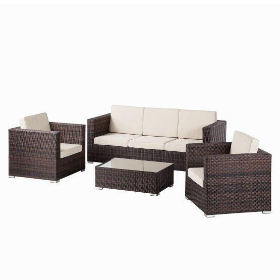 Loungeset Paradise Lounge II (4-teilig) - Webstoff / Polyrattan - Beige / Braun