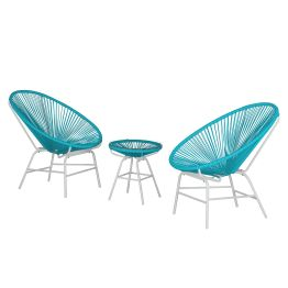 Sitzgruppe Copacabana IV (3-teilig) - Kunststoff / Metall - Türkis / Weiß