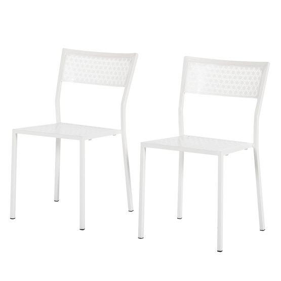 Gartenstuhl Pini (2er-Set) - Metall Weiß