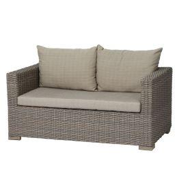 Lounge-Sofa Veneto (2-Sitzer) - Polyrattan / Webstoff - Hellbraun / Hellbeige