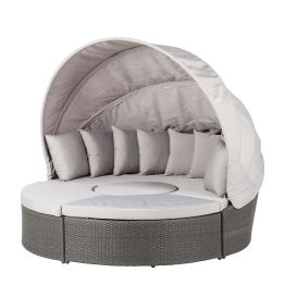 Premium Sonneninsel Paradise Lounge - Polyrattan - Aluminiumrahmen - Grau / Hellgrau