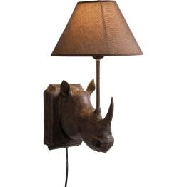Lampe: Ausgefallene Wandleuchte im Kolonialstil Dieser fein geformte Nashornkopf macht sich als Sockel für eine Leuchte nützlich! Aus Polyresin gefertigt und mit lebendiger Oberflächengestaltung. Der Lampenschirm aus Leinen kommt in elegantem Braun daher und sorgt für angenehmes