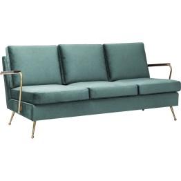 Sofa: Fifties-Glamour Dieses Sofa bringt den eleganten Midcentury-Stil zurück. Feiner Samt in gedecktem Smaragd-Grün