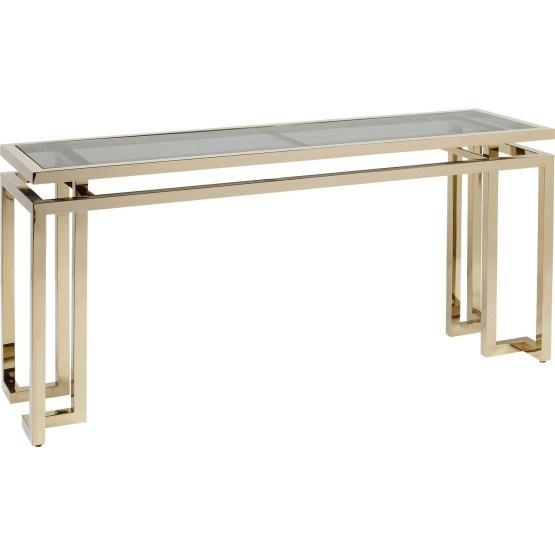 Konsole: Luxus Appeal und Raffinesse Ein bisschen Glamour hat noch niemanden geschadet. Dieser Tisch könnte auch als moderne Möbelskulptur im Museum stehen. Er beeindruckt mit gestalterischer Raffinesse und einer eleganten